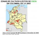Kokaanbaugebiete im Jahr 2003. Autoren SIMSI/UNODC